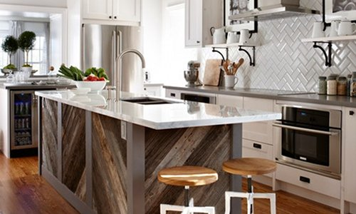 Diagonally Laid Recycled Timber For Kitchen Island