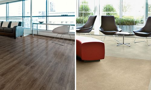 polyflor-looselay-dark country oak-limed concrete and cathedral limestone