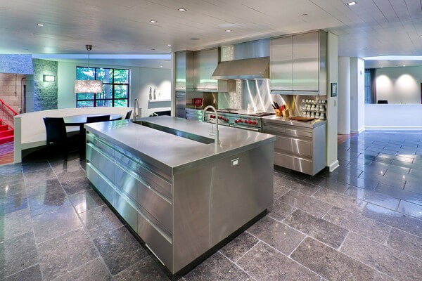 This rugged stone floor is a great compliment to the stainless steel kitchen. 30 Kitchen Floor Tile Ideas  Designs and Inspiration 2016