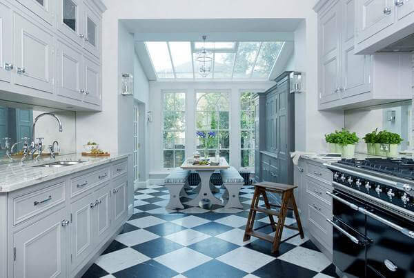 Classic checkerboard marble tiles are beautifully updated in the glamorous  kitchen 36 Kitchen Floor Tile Ideas Designs and Inspiration June 2017