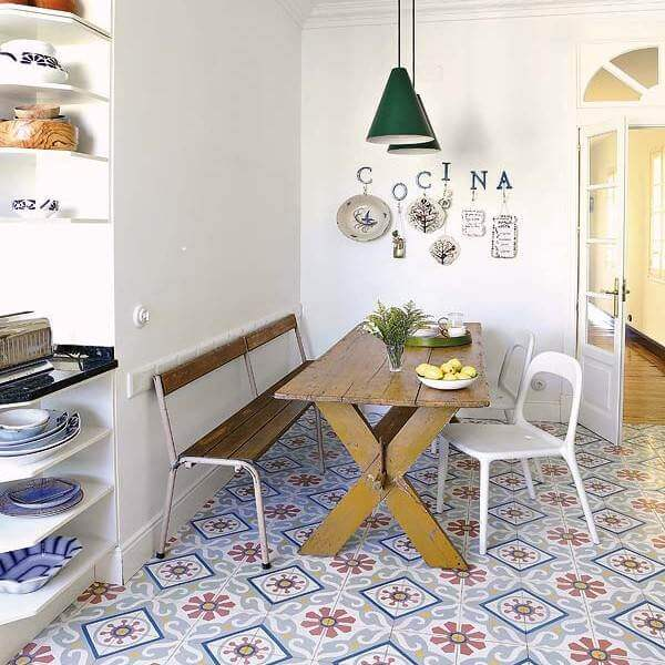 With Its Colorful Encaustic Tileis Matched Furniture This Kitchen Epitomizes Eclectic Chic