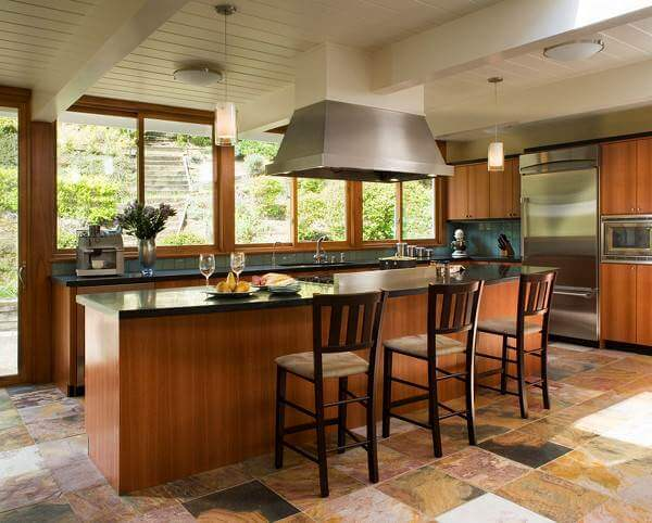 contemporary kitchen floor tile designs. stunning kund multicolor slate makes a strong statement in this contemporary kitchen. kitchen floor tile designs
