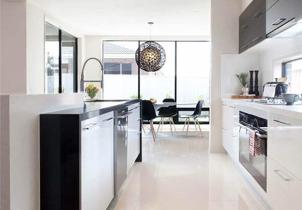 a perfect study of calm monochrome design is completed with these glossy off white tiles source - Floor Tiles For Kitchen