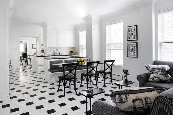 white tile floor living room. Offset black and white tiles keep this monochrome scheme from being too  busy 36 Kitchen Floor Tile Ideas Designs Inspiration June 2017