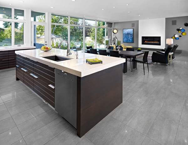 These Very On Trend Gray Porcelain Tiles Are Ideal For A Contemporary  Open Plan Space.