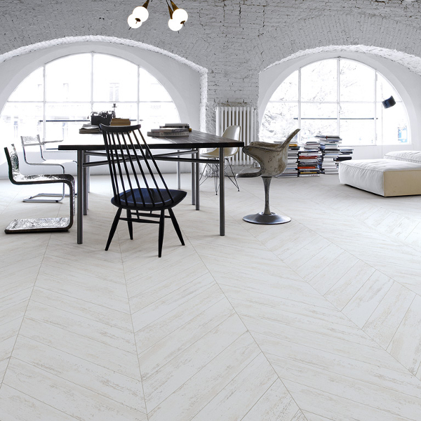 The Prescott tile from Porcelain Wood also has a perfectly balanced,  slightly scuffed aesthetic and is available in super-chic chevron formation. - White Wood Floors And Other White Flooring Options & Ideas