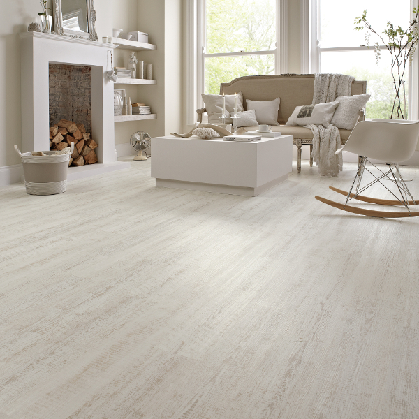 a warm almost creamy white wood look lvt from karndean with an evenly distressed aesthetic perfect for this modern rustic living room - Distressed White Wood Flooring