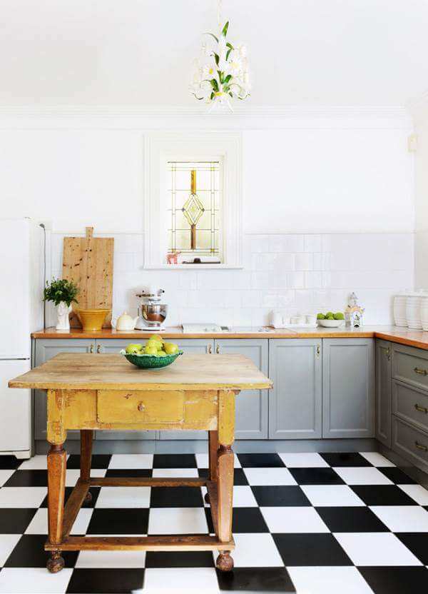 Black And White Floor Tile Kitchen