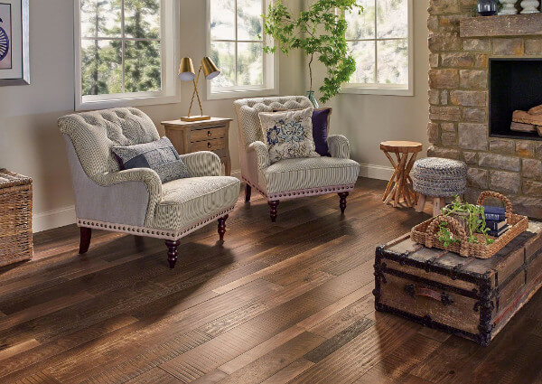 Source Www Armstrongflooring An All Out Country Cozy Décor Here With Rustic Random Width Planks Finished A Warm Chocolate Matt Stain
