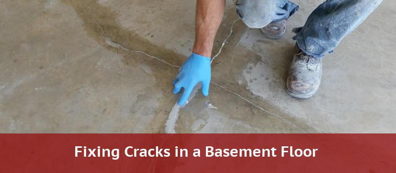 Fixing cracks in a basement floor